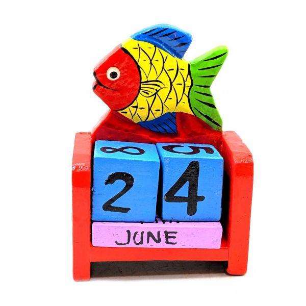 Настольный Календарь Рыбка, 10х7х4 см Деревянный