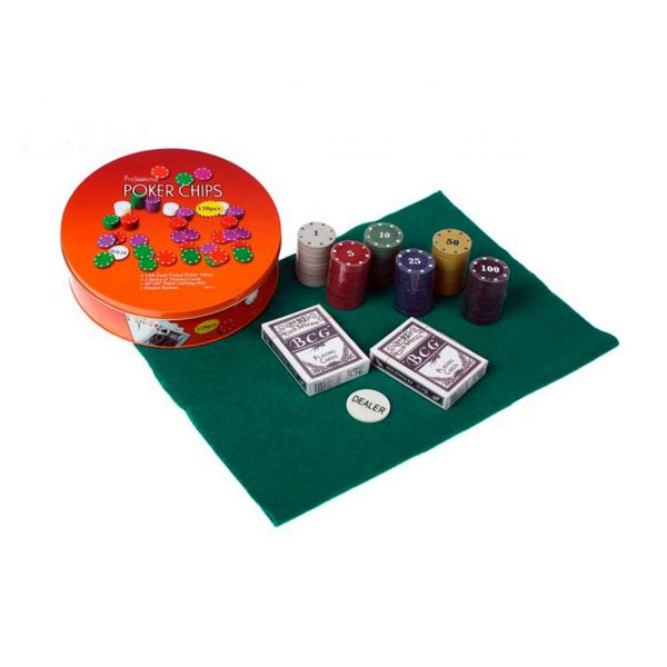 Покерный Набор 120 фишек с Номиналом, Сукно, Круглая Коробка
