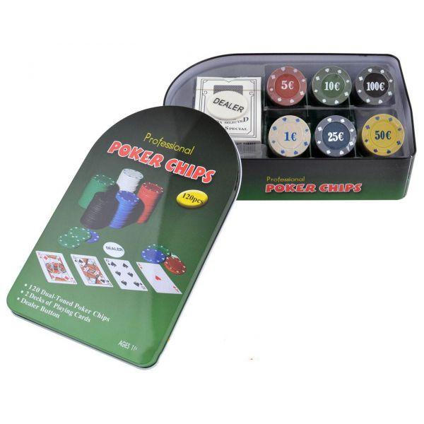 Покерный Набор 120 фишек с Номиналом, Коробка