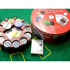 Покерный Набор 240 фишек с Номиналом, Сукно, Коробка Круглая