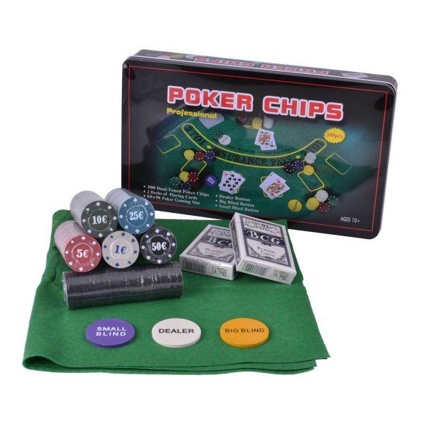 Покерный Набор 300 фишек с Номиналом, Сукно, Коробка