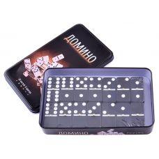 Домино в металлической коробке, Настольная Игра, Onyx Black 18x11x2 см