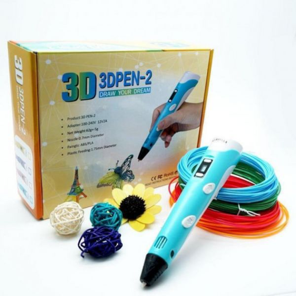 3D Ручка с LCD Дисплеем, 129 Метров, 15 Цветов Пластика, Разноцветный набор, Бирюзовый