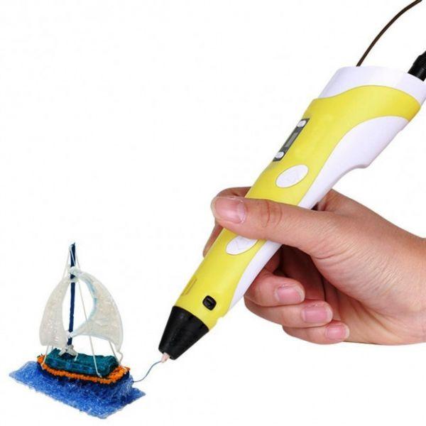 3D Ручка с LCD Дисплеем, 109 Метров, 13 Цветов Пластика, Разноцветный набор, Yellow