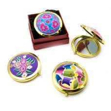 Зеркальце косметическое с рисунком золото (d-7 см)(в коробке + чехольчик)