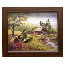 Картина Бабочки в рамке на фоне (2шт.) (28х23х2,5 см) Village
