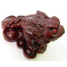Жаба на монетах каменная крошка коричневая (6,5х6х5 см)