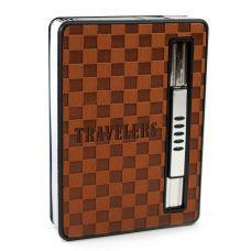 Портсигар с выбросом сигарет и зажигалкой (9,5х6,5х2см)