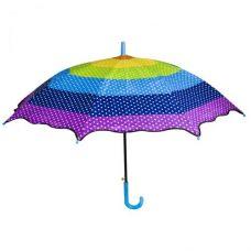 """Зонт """"Радуга"""" с синей ручкой"""