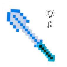 """Алмазная лопата """"Майнкрафт"""" свет, звук (синяя)"""