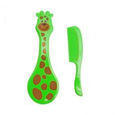 """Набор для ухода за младенцем """"Расчёска-щётка: Жираф"""" (зелёный)"""