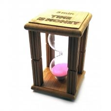"Часы песочные в бамбуке ""3 минуты"" Розовый (9,5х6,5х6,5 см) Homade"