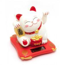 Статуэтка Кошка Манэки-Нэко на солнечной батарее (10,5х10х9см)