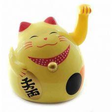 Статуэтка Кремовая Кошка Манэки-Нэко машущая лапой пластик (12х11х10,5 см)