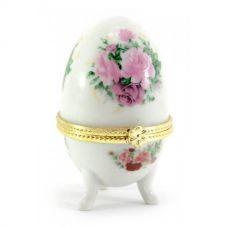 "Шкатулка яйцо ""Розы"" (7,5х5х5см) Белая Homade"