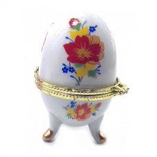 """Шкатулка яйцо """"Цветы"""" (7,5х5х5см) Белая Homade"""
