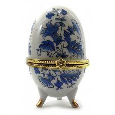 "Шкатулка яйцо ""Синие Цветы"" (10х6х6 см) Орнамент Homade"