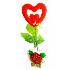 Ваза роза керамическая с сердечком (22х9х5,5 см) Homes