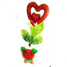 Ваза роза керамическая с сердечком (22х9х5,5 см)A Homes