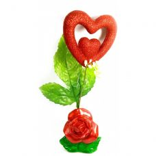 Ваза роза керамическая с сердечком (22х9х5,5 см)B Homes