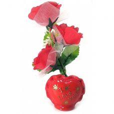Ваза роза керамическая с сердечком (22х9х5,5 см)C Homes