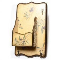 """Ключница вешалка """"Оливка"""", с ящиком, массив дерева (34х20 см)"""