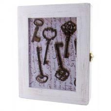 """Ключница настенная """"Ключи"""" белая массив дерева (22,5х19,5х5,5 см)"""