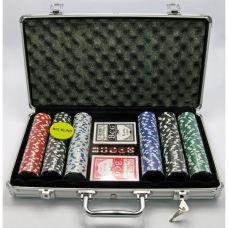Набор для игры в покер в алюминиевом кейсе 300 фишек, две колоды карт Darshan 19297