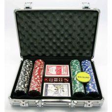 Набор для игры в покер в алюминиевом кейсе 200 фишек, две колоды карт Darshan