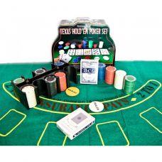 Набор для игры в покер в коробке 200 фишек, сукно,  две колоды карт 25,5х20,5х10 см Darshan 23716