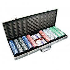 Набор для игры в покер в алюминиевом кейсе 500 фишек, две колоды карт Darshan