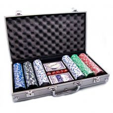 Набор для игры в покер в алюминиевом кейсе 300 фишек, две колоды карт Darshan