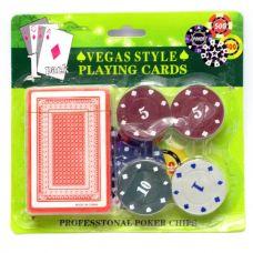 Набор для игры в покер в блистере 20 фишек, одна колода карт Darshan 28518