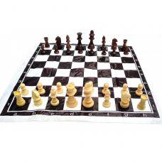Шахматы дорожные в блистере с мягкой доской деревянные (h фигур 4-8.5 см ,d-2.5-3.5 см) 32548