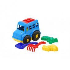 Детская машинка игрушечная Автобус №1 Синий (Машинка, Лопатки, Грабли, Пасочки) Colorplast
