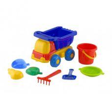 Детская машинка игрушечная Пчелка Синяя №3 (Машинка, Ведерко, Сито, Лопатка, Пасочки) Colorplast