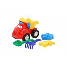 Детская машинка игрушечная Смайл Красная №2 (Машинка, Лопатка, Пасочки, Грабли) Colorplast