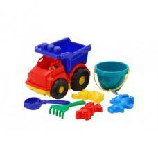 Детская машинка игрушечная Тотошка Самосвал №3 Синяя (Машинка, Ведерко, Лопатки, Грабли, Пасочки) Colorplast