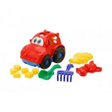 Детская машинка игрушечная Автошка №2 Красная (Машинка, Лопатка, Грабли, Пасочки) Colorplast