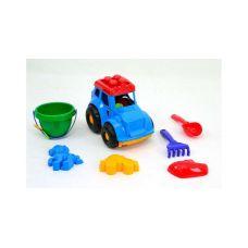 Детская машинка игрушечная Трактор Кузнечик №3 Синий (Машинка, Лопатка, Грабли, Ведерко, Пасочки) Colorplast