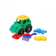 Детская машинка игрушечная Трактор Кузнец №2 Зеленый (Машинка, Лопатка, Грабельки, Пасочки) Colorplast