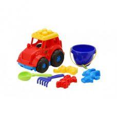 Детская машинка игрушечная Трактор Кузнец №3 Красный (Машинка, Лопатка, Грабельки, Пасочки, Ведерко) Colorplast