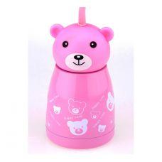 Термос Мишка веселый, розовый 300 мл